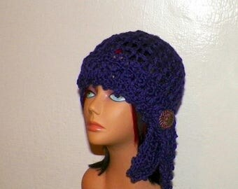 On Sale- Purple Hat Flapper Gypsy Cloche Summer Festival Hippie Irish Lace Chemo Button  Boho Crochet Mesh