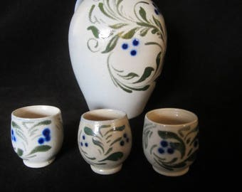Veritable Betschdorf Gres au Sel Stoneware Jug, 3 tiny matching cups- gray, olive & cobalt blue. Artist Paul Schmitter. A Collectible, Gift!
