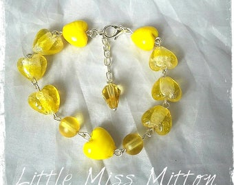 Heart Bracelet, Yellow Bracelet, Yellow Beaded Bracelet, Yellow Heart Bracelet