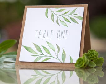 Natural Green Leaf Watercolour Wedding Table Number / Name Rustic