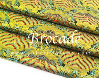 Oriental fabric yellow brocade by meter