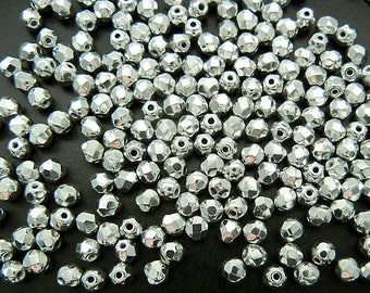 150 Crystal Labrador Fully coated 8mm, Preciosa Czech Fire Polished Round Faceted Glass Beads, Czech Glass Fire Polish Beads, clear silver