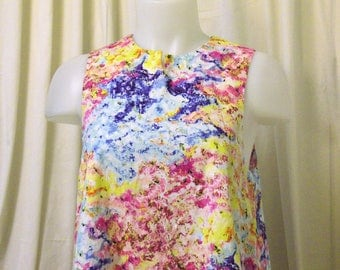Jewel Neck, Sleeveless, Cotton Trapeze Top, Swing Top, Swing Tunic in Monet-like Print, Size X-Small