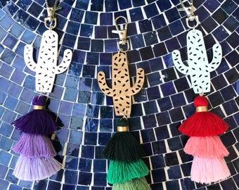 Cactus Tassel Bag Charm - Fiesta Cactus, Clothing Gift, women's gift, gift for her