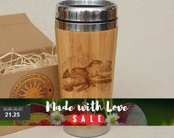 Customized Engraved Bamboo Wood Travel Mug ''Panthera'', Car or Desk Coffee, Tea Cup Stainless Steel with Rubber