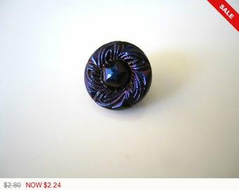 ON SALE Cobalt Czech Glass Buttons Blue Round Swirl Czech Glass Handmade Buttons Cobalt Button Blue Glass Buttons Cobalt 14mm (1pc) 40BV3