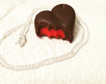 realistic polymer clay heart shaped strawberry cream chocolate necklace
