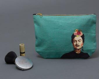 Frida kahlo bag, Makeup bag,  canvas pouch, Zipped Wallet, Accessory Purse, pencil pouch,  Small Clutch Purse, cosmetic purse. travel case