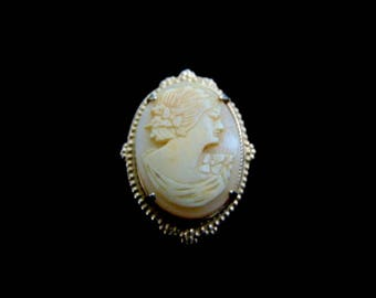 Womens Vintage Estate Sterling Silver Gold Tone Cameo Brooch Pin 7.7g E3798
