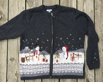 Vintage Ugly Christmas Sweater Snowmen