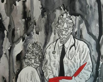 Diagnosis - Original Mixed Media Illustration