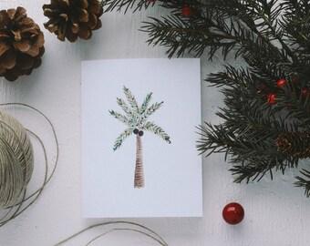 Holiday Greeting Card - Christmas Palm Tree Card, Merry Everything, Merry Christmas, Christmas Card, Sunny Christmas Card, Joy to All