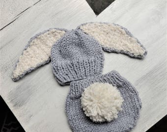 Knit Bunny hat, Luv Beanies, Diaper Cover Set, Baby Bunny Hat, Bunny Beanie, Baby Hats, Hats for Babies, Easter Gift, Photo prop