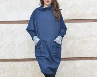 Winter Dress, Wool Dress, Kimono Dress, Women Dress, Dark Blue Dress, Balloon Dress, Midi Dress, Minimalist Dress, Loose Dress, Pocket Dress