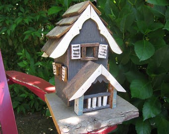 Vintage Rustic Handmade Birdhouse Dark Bluish-Gray with White Trim, Reclaimed Wood Pieces, Primitive - 1970's