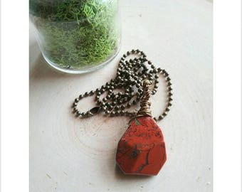 Wire Wrapped Necklace, Red Jasper Necklace, Red Jasper Pendant, Natural Crystal Necklace, Wire Wrapped Jewelry, Wrapped Crystal Pendant