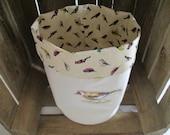 Fabric storage box bird storage basket reversible linen fabric storage little bird organiser fabric nursery storage kitchen storage