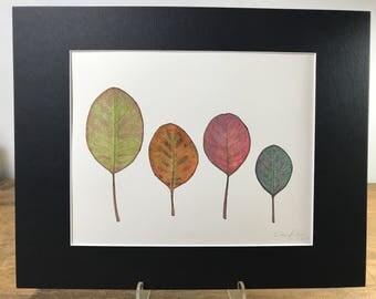 Botanical Watercolor & Ink Original -  11x14 Matted