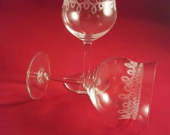 Needle Etched Wine Glasses