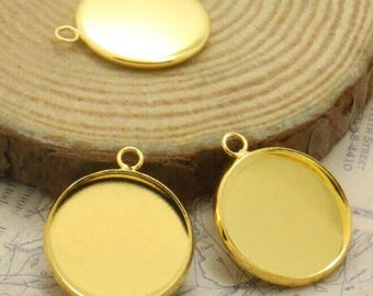 x 5 Support pendant round ring 20mm gold (T195)