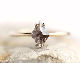 18k Rose Gold Salt and Pepper Kite Diamond Engagement Ring. Kite Diamond Ring. Salt and Pepper Kite Diamond Ring. Kite Ring.