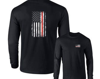 Thin Red Line Firefighters Usa Flag Long Sleeve T-shirt F&B