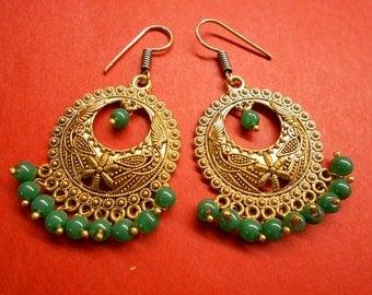 Rajshthani African Bollywood Golden Oxidized Green Stone Beads Jhumki SR107