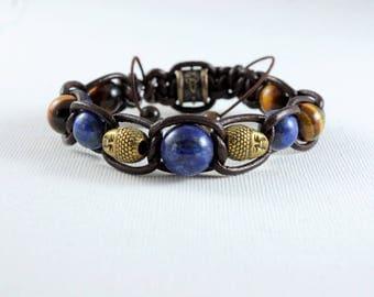 lapis lazuli Buddha top quality Tiger eye leather bracelet