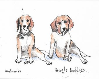 Beagle Buddies - Original pen & ink drawing with coloured pencil - A5 gift, dog, Beagle, dogs, Beagles, Besties, friends, mates, couple