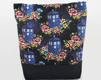 Police Box Tote Bag - Large Magnet Closure Tote - Floral Space Doctor Bag - Knitorious Print - Gift for Her, Gift for Doctor Who Fan