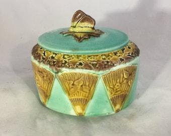 Antique Majolica Lidded Box