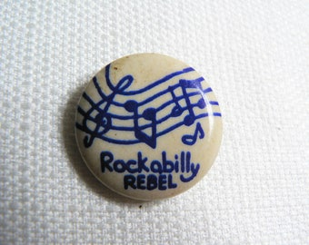 Vintage 80s Rockabilly Rebel - Musical Notes - Pin / Button / Badge