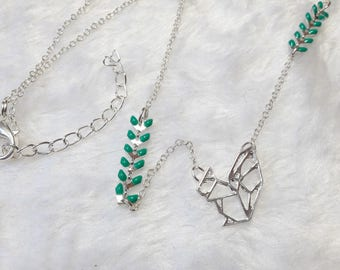 Silver Green origami squirrel necklace