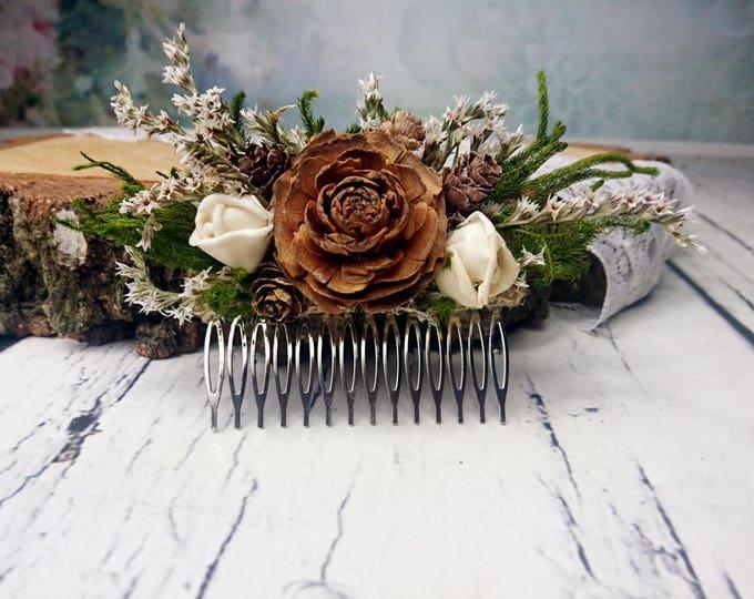 Green brown  HAIR COMB cedar rose ivory sola flowers rustic woodland wedding, burlap hair piece, bridal accessory, custom, dried flowers