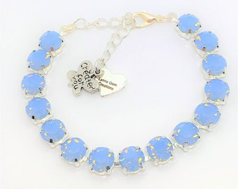 Blue Opal 8mm Swarovski Crystal Bracelet Blue Opal Crystal Jewelry Anytime Bracelet Designer Inspired Air Blue Opal Crystal Bracelet