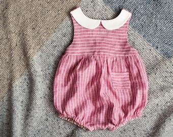 Baby Romper, Linen Romper, Newborn Romper, Striped Linen Romper, Peter Pan Collar, Pink Romper, Baby Clothes, Baby Girl, Newborn Clothes