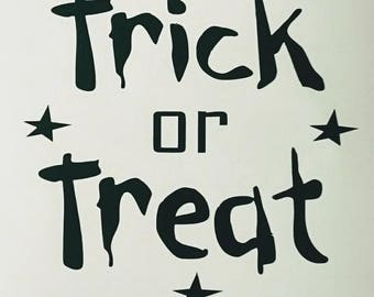 Halloween 'Trick or Treat' vinyl decals/transfers X 2 ideal for glasses/small plaques