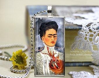 Frida Kahlo Necklace, Photo Glass Jewelry, Frida Jewelry, Mexican Artist, Woman Artist, Silver pendant necklace, Frida Gift