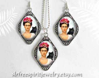 Frida Kahlo Jewelry, Photo Image Jewelry, Frida Necklace, Frida with Cat Earrings, Oval Pendant, Silver Plate Jewelry, Frida gift