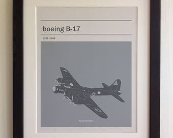 FRAMED Boeing B-17 Print - Black/White Frame, Birthday, Anniversary, Father's Day, Christmas, Fab Picture Gift