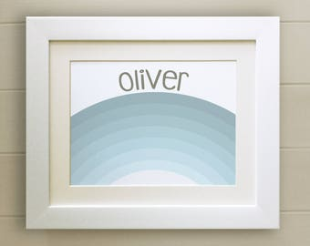 FRAMED Personalised Blue Rainbow PRINT, New Baby/Birth Nursery Picture Gift, Choice of 3 frames, Fab Picture Gift
