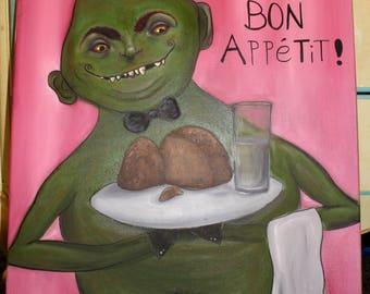 Original Goblin Waiter Oil Painting