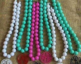 Monogram beaded necklaces
