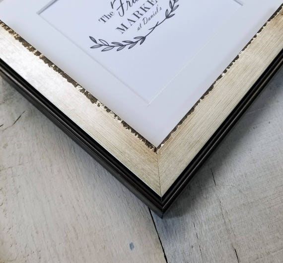 Liam Industrial Wood Picture Frame With White Mat 8x10