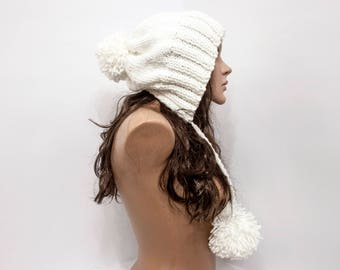 Pom Pom Knit Hat Women White Hat Slouchy Earflap Hat - Knit Accessories Gift For Her - Choices Color