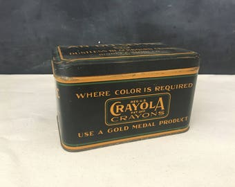 Crayola Crayons Chalk Tin - Vintage Binney & Smith An-Du-Septic Dustless Blackboard Crayon Box - Schoolhouse Decor - Chalkboard Chalk Tin