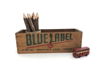 Blue Label Cheese Box - Vintage Wood Cheese Box - Pasteurized Process Cheese White American- Chicago - Cheese Box - Farmhouse Decor