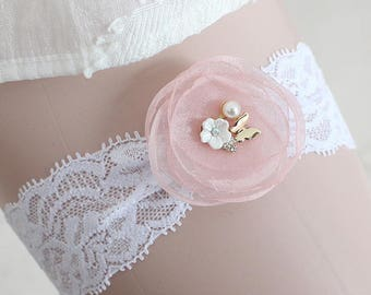 Wedding Toss Garter, Wedding garter lace, White Lace Bridal Garter, Chiffon Pink Rose with Peals Rhinestone on soft elastic white lace