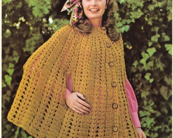Vintage Cape crochet pattern in PDF instant download version , PDF downloadable