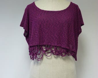 Knitted handmade cyclamen boucle crop top, XL size.